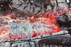 Smoldering logs Stock Photo