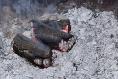 Smoldering sunflower shell biomass briquettes. With smoke stock images