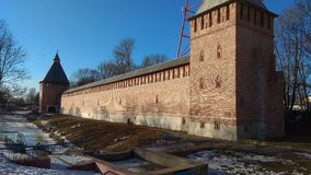 Smolensk fortress: a grandiose building of the Middle Ages. Very nice place! April 2018 stock photos