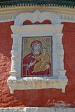 The Smolensk icon of the Mother of God on the building of church of Bogoyavlensky convent. Uglich, Yaroslavl region.  royalty free stock photos