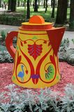 A decorative kettle in the city park of Smolensk Royalty Free Stock Images