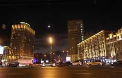 Smolenskaya Square in Moscow by night Royalty Free Stock Photography
