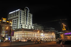 Smolenskit Passage department store and Garden Ring in Moscow by night Royalty Free Stock Image