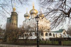 Smolensky大教堂在Novodevichy女修道院,莫斯科 库存照片