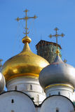 Smolensky cathedral cupolas in Novodevichy convent in Moscow Royalty Free Stock Photo