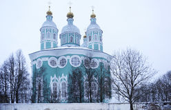 Smolensky Cathedral. View of the Smolensk cathedral from the apse of the winter Royalty Free Stock Images