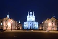 Smolniy Cathedral at night, Saint Petersburg Stock Photo