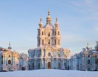 smolny彼得斯堡俄国的圣徒 免版税库存图片