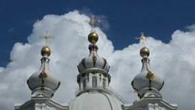 Smolny Cathedral domes, St. Petersburg stock footage