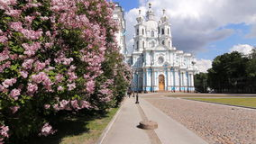 Smolny Cathedral in the early summer stock video footage