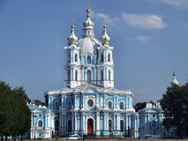 Smolny Cathedral in Petersburg Stock Photo
