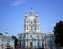Smolny Cathedral in Saint-Petersburg. Cathedral of Smolny Convent of  the Resurrection in Saint-Petersburg, Russia Stock Photos