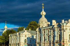 Smolny Cathedral in Saint Petersburg Stock Photo