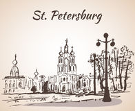 Smolny Cathedral in Saint-Petersburg, Russia Stock Image