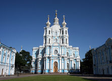 Smolny Cathedral in St. Petersburg. Smolny Cathedral is the most famous church in St. Petersburg, Russia Stock Images