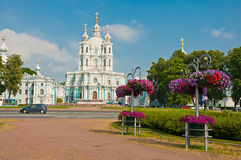 Smolny Cathedral in St Petersburg Royalty Free Stock Photo