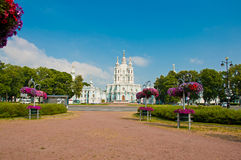 Smolny Cathedral in St Petersburg Stock Photography
