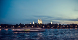 Smolny Cathedral in St. Petersburg. White night, Russia Stock Photo