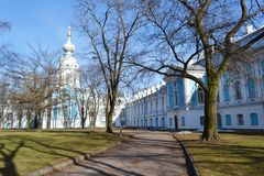 Smolny Cathedral on a sunny spring day Stock Photography