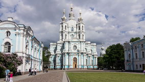 Smolny Cathedral in tracking, St. Petersburg stock footage