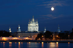 Smolny Cathedral View in White Nights Royalty Free Stock Images