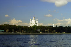 The Smolny Convent of the Resurrection on the bank of Neva river Royalty Free Stock Photography