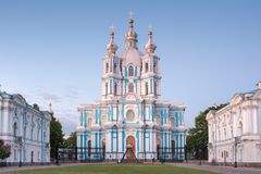 Smolny Convent or Smolny Convent of the Resurrection Voskresensky. Saint Petersburg, Russia stock images