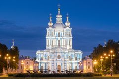 Smolny Convent or Smolny Convent of the Resurrection Voskresensky. Saint Petersburg, Russia royalty free stock image