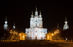 Smolny katedra iluminująca saint petersburg Fotografia Stock