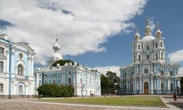 Smolny-Kloster der Auferstehung in St Petersburg, Russland Stockbilder