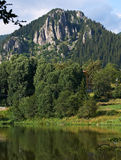 Smolyan lake and rocks, Bulgaria Stock Images