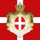 SMOM Sovereign Military Order Of Malta Coat Of Arms On The Official Flag Royalty Free Stock Photos
