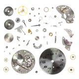 Smonti il vecchio orologio meccanico isolato su fondo bianco Immagini Stock Libere da Diritti