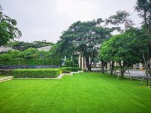 Free Smooth And Fresh Green Grass Lawn As A Carpet In Garden Backyard, Good Care Maintenance Landscapes Decorated With Flowering Plant Royalty Free Stock Photos - 161412698