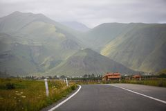 Smooth asphalt road in the mountains. stock images