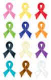 Smooth Awareness Ribbons. Smooth, satin awareness ribbons, each radiating a soft, colorful glow; supporting research for cures for disease and various social Royalty Free Stock Photos