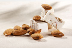 Smooth belgian honey and almond nougat Royalty Free Stock Images