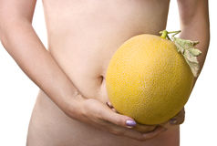 Smooth belly and wrinkled melon Stock Photos