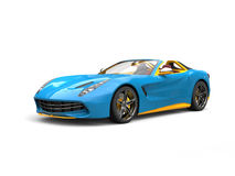 Smooth blue fast racing sports car with yellow details and interior Stock Images