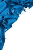 Smooth blue silk or satin with stars as Happy new year holiday b Royalty Free Stock Photos