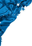 Smooth blue silk or satin with stars as Happy new year holiday b Royalty Free Stock Image