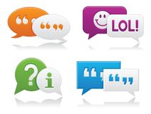Smooth Chat Bubbles. Vibrantly colored, smooth-style chat bubbles with drop shadows; perfect for web projects Stock Photo