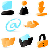 Smooth computer and file icons. Set of smooth and glossy icons for computer and file operations. Vector illustration.  Letter @ is not part of any existing font Stock Photos