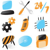 Smooth computer service icons. Set of smooth and glossy icons for computer services. Vector illustration. Figures are not part of any existing font, all the Royalty Free Stock Images