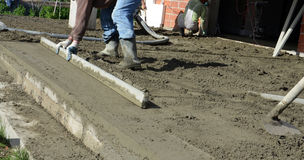 Smooth concreting the  floor Royalty Free Stock Image