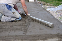 Smooth concreting the  floor Royalty Free Stock Photo