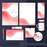 Smooth curve lines background corporate identity set Stock Image