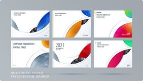 Smooth design presentation template with colourful round shapes. Abstract vector set of modern horizontal banners. Smooth design presentation. Abstract vector Royalty Free Stock Photo