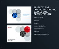Smooth design presentation template with colourful round shapes. Partnership collaboration. Smooth design presentation. Abstract business vector set of round Stock Images
