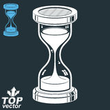 Smooth detailed vector sand-glass. Old-fashioned classic 3d hour. Glass with pour sand  on dark background. Time without end conceptual icon, includes invert Stock Image